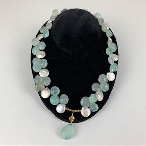 Handmade Teardrop Pearls & Faceted Beads Necklace